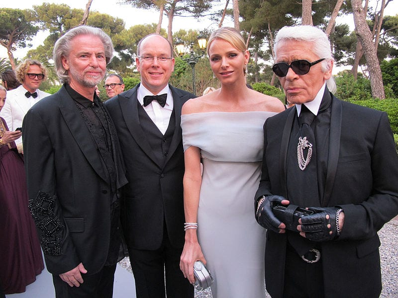 "The Prince and Princess of Monaco with Hermann Bühlbecker and Karl Lagerfeld at the ""Cinema Against AIDS"" Gala. Photo: get noticed communications"