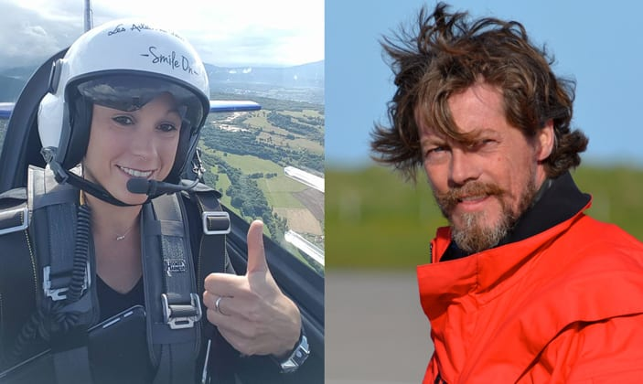 Pilots Melanie Astles and Quentin Smith to speak at Air League fundraiser. Photos: Facebook Team Mélanie Astles; Facebook Quentin Smith