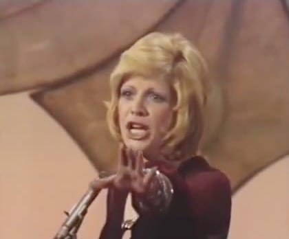 "1971 Eurovision Song Contest winner, Severine with ""Un banc, un arbre, une rue"". Image: YouTube"