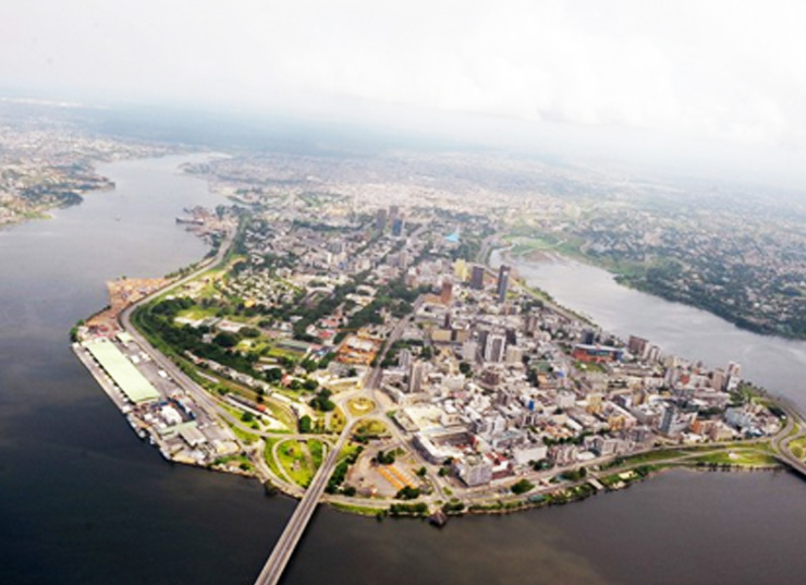 Aerial view of the Ivory Coast capital, Abidjan