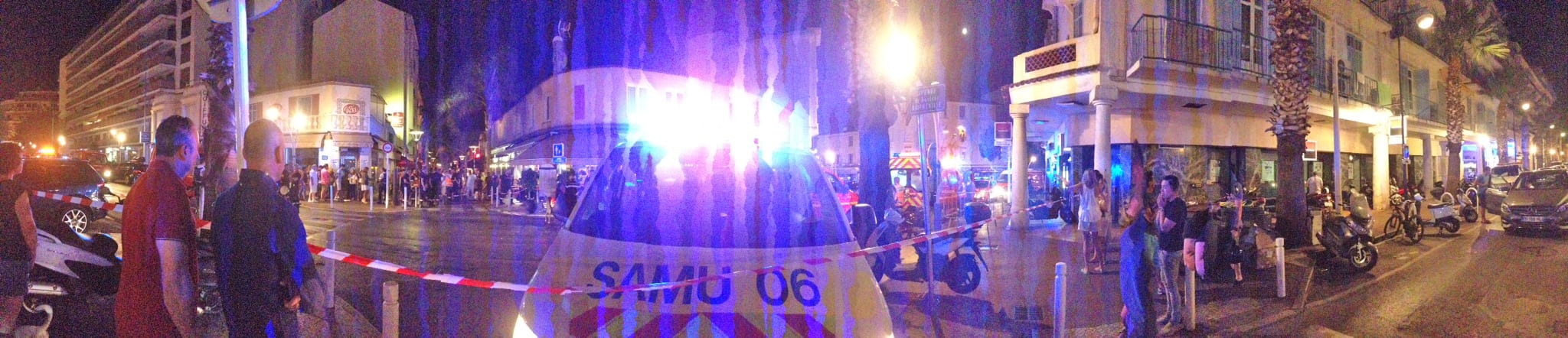 Area cordoned off with about 40 to 50 police, military and emergency vehicles in Juans-les-Pins Sunday evening around 10:30 pm. Photo: SS/Monaco Life