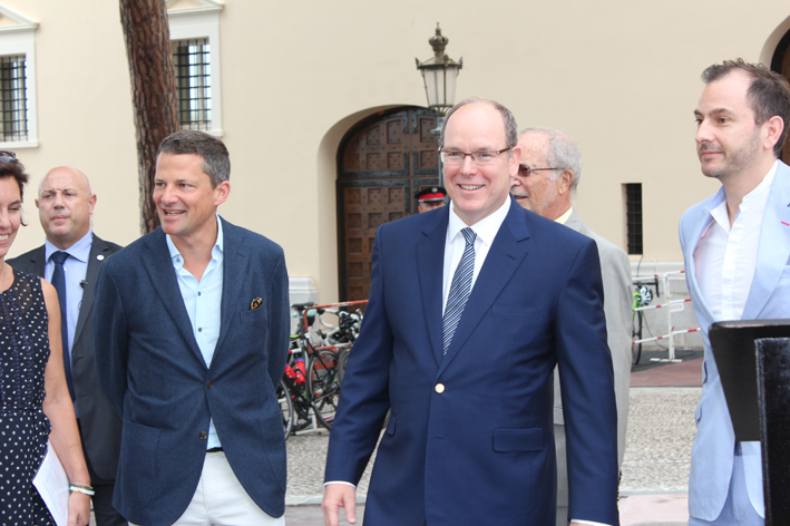 Prince Albert with Blue Marine Foundation's George Duffield, CEO Clare Brook and Chris Gorell Barnes