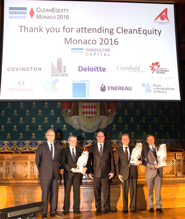 CleanEquity 2016 Award Winners. (L-R) Mungo Park (Innovator Capital), Lord Paul Drayson (Drayson Technologies), HSH Prince Albert II of Monaco, Seth Grae (Lightbridge Corporation) and Alexis Figeac (INNEON).