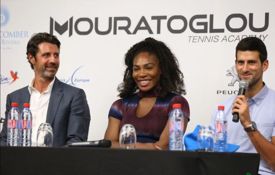 Patrick Mouratoglou  with Serena Williams and Novak Djokovic. Photo: Facebook Mouratoglou Tennis Academy