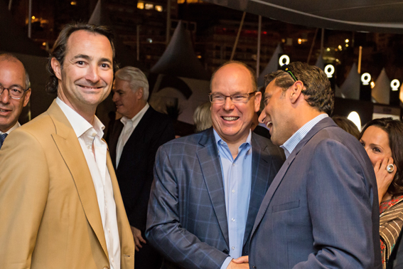 MYG's Nicholas Frankl with HSH Prince Albert and Deepak Soni, CEO Vontobel Swiss Wealth Advisors aboard MY/Turquoise