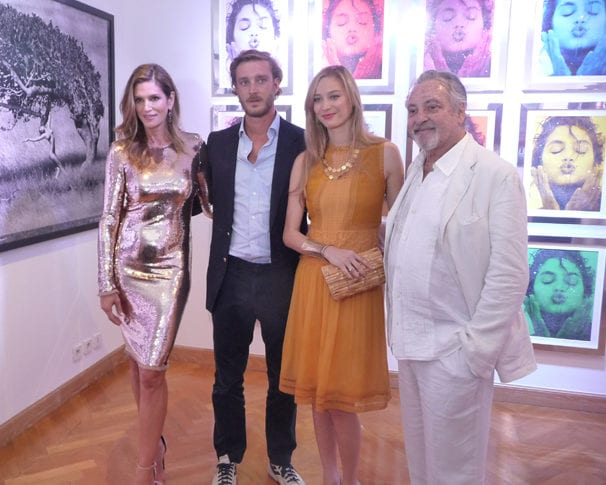 Cindy Crawford with Pierre Casiraghi, his wife Beatrice Borromeo and photographer Marco Glaviano at the Monaco Modern Art Gallery Monday night.