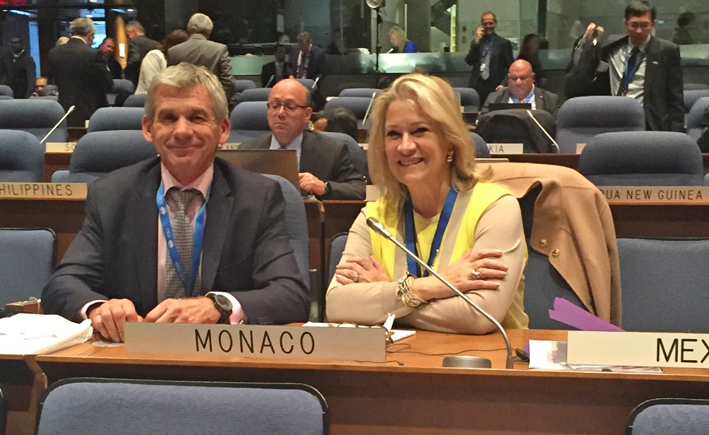Photo Caption: Mr. Bruno Lassagne, Director of Civil Aviation and Diane Vachon, Consul General of Monaco in Montreal and Permanent Representative of Monaco to ICAO. ©DR