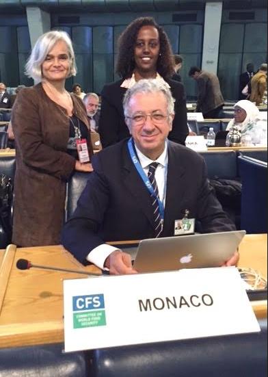 Mme Martine Garcia, Troisième Secrétaire, S.E. M. Robert Fillon, Ambassadeur Représentant permanent de la Principauté de Monaco près la FAO, Mme Yordanos Pasquier, Secrétaire des Relations extérieures à la Direction de la Coopération Internationale.