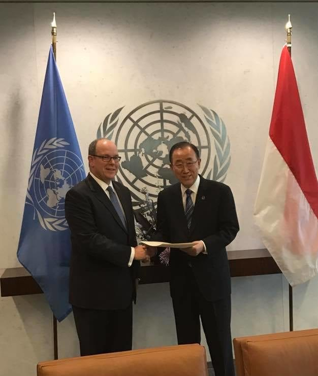 HSH Prince Albert II with Ban Ki-moon, Secretary General of the UN Photo: Facebook Gouvernement Monaco