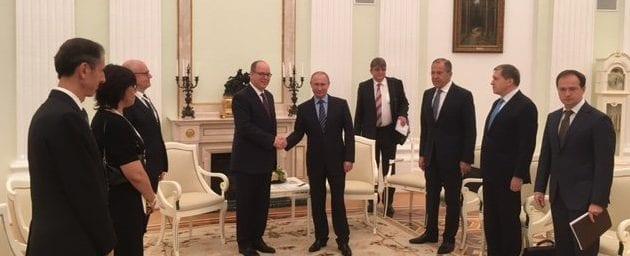 Prince Albert with President Putin at Kremlin in October.