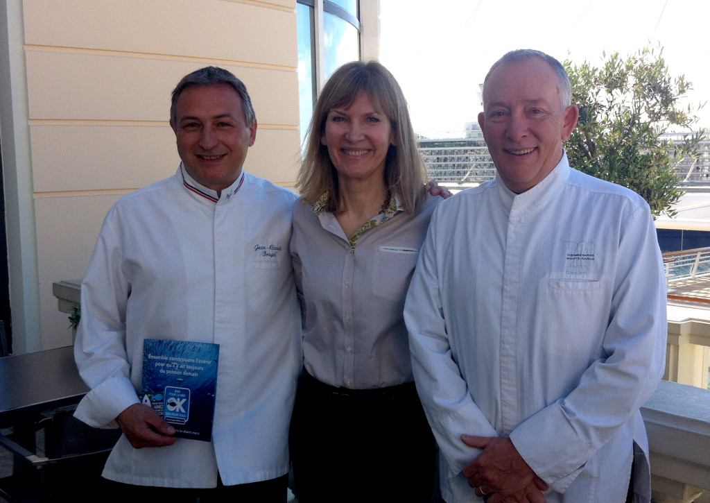 Chef Jean Claude Brugel, of Thermes Marins' Vistamar restaurant, with Christine Zoliec, Managing Director and Brugel's predecessor, Jacky Oberti.