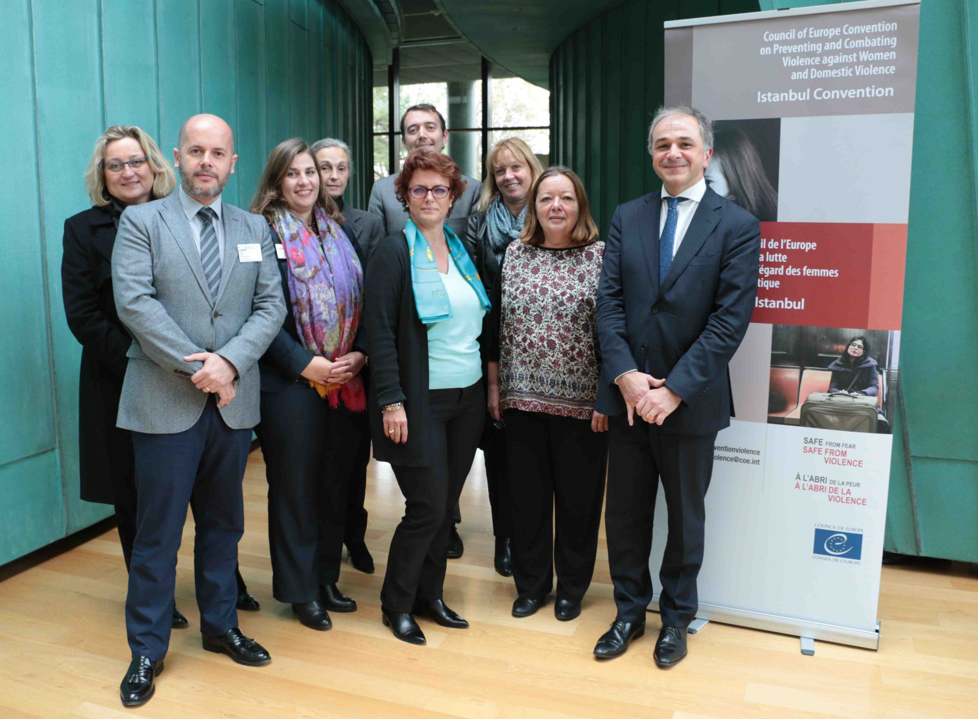 Monegasque delegation: Ms Anne Nègre, Inspector General of Administration, Ms Valérie Viora-Puyo, Director of Human Resources and Public Service Training, Ms Corinne Magail, Mission to the Directorate of International Affairs, Mrs Sylvie Louche, Head of the Childhood and Family Division at Department of Social Welfare and Social Services, Mrs Isabelle Castelli, Commander Police Deparment,  Mrs Antonella Sampo, Principal Administrator in the Directorate of Judicial Services, Mr Frédéric Pardo, Senior Legal Officer, International Law, Human Rights and Freedoms Service Of the Directorate of Legal Affairs and Mr Gabriel Revel, Deputy to the Permanent Representative to the Principality of Monaco to the Council of Europe. ©DR