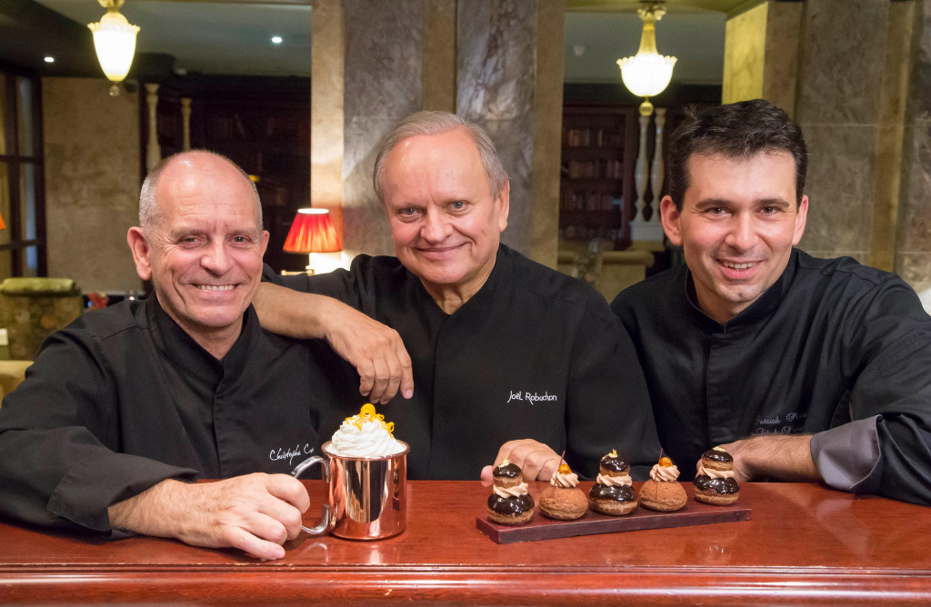 Joël Robuchon, Christophe Cussac & Patrick Mesiano at the inauguration of the Chocolate Bar. Photo: Hotel Metropole
