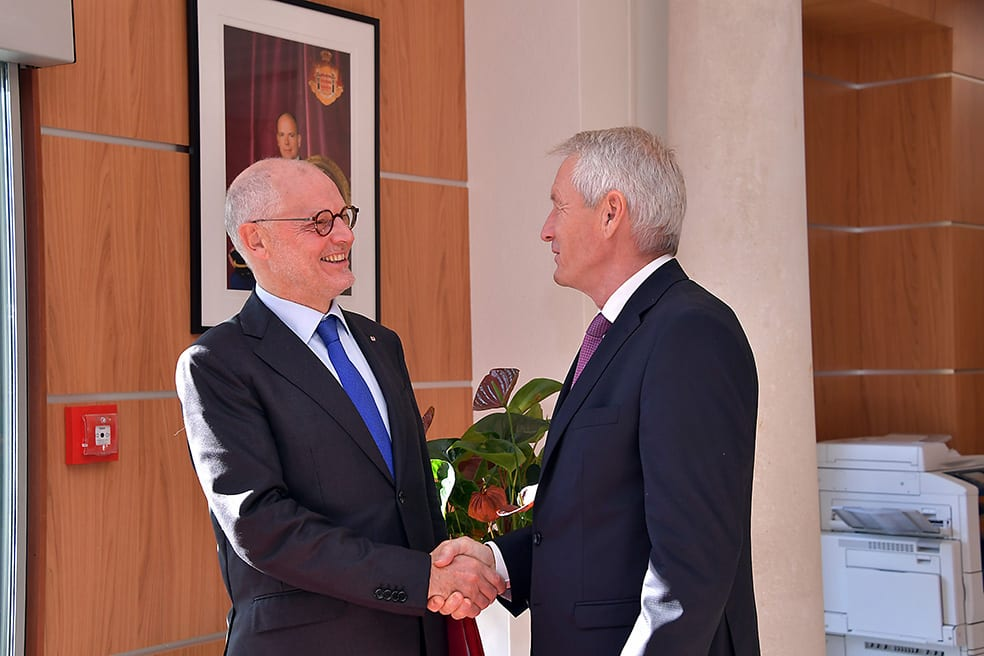 Minister of State, Serge Telle with Mr Thorbjorn Jagland, Secretary General of the Council of Europe. Photo: ©Direction de la Communication/Charly Gallo