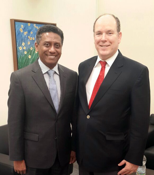 Seychelles' President Danny Faure pictured with Prince Albert. Photo: State House