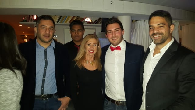 Monaco Australia Associations Beverley Holt with AS Monaco Rugby's team captain, Simon Profeta and guests.