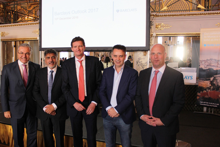 From left to right: Francesco Grosoli, CEO, Wealth and Investment Management EMEA & Monaco Branch, Barclays; James Caan CBE, Philanthropist, Investor & Entrepreneur; Urs Wietlisbach, Co-Founder and Partner of Partners Group; Frans van Eersel, CEO & Founder of Dopay and Henk Potts, Chief EMEA Economist, Barclays.