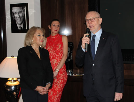 CREM President Louisette Levy-Soussan Azzoaglio, CREM Director Marilyne Pierre and Minister of State, Serge Telle.