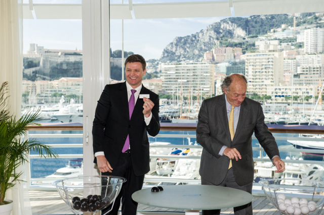 At the Yacht Club Thursday, Gareth Wittstock and François Forcioli-Conti, President of the Côte d'Azur Racing Society, draw names of horses to match with associations for the Charity Mile race. Photo: Axel Bastello / Palais Princier