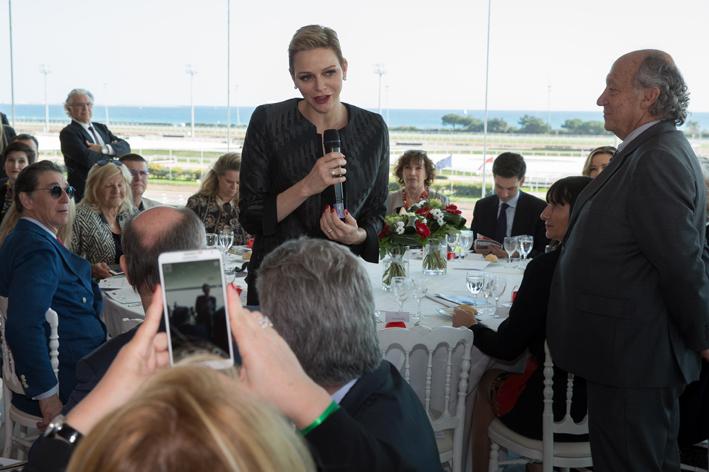 Princess Charlene addressing sponsor and charitable organisations over lunch. Photo: Kasia Wandycz/Palais Princier