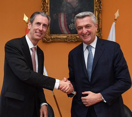 Mr Gilles Tonelli, Minister for Foreign Affairs and Cooperation with Mr Filippo Grandi, United Nations High Commissioner for Refugees Photo: ©Direction de la Communication/Manuel Vitali