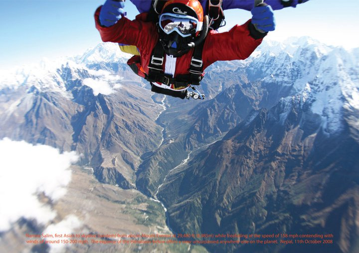 Namira Salim, first Asian to skydive (tandem) over Mount Everest as part of the historic First Everest Skydives 2008. Himalayas, Nepal. October 11, 2008. Photo: Facebook Narima Salim