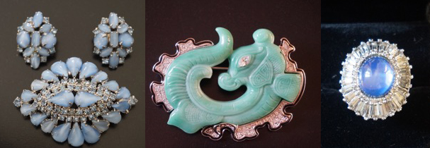 Unsigned 1950s brooch and clip earrings, 1980s KJ Lane faux jade brooch and Panetta ring circa 1960s