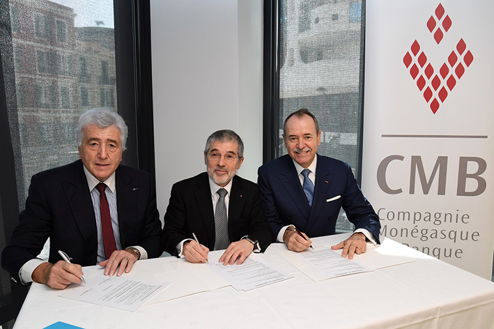 L-R: Etienne Franzi, CMB President, Patrice Cellario, Minister of the Interior, and Werner Peyer, Deputy Director, CMB. Photo: © Manuel Vitali/DC