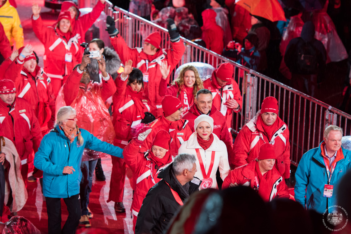 Princess Charlene joins Monaco for the Parade of Athletes during the opening Ceremony March 18 at the 2017 Special Olympics World Winter Games Photo: Eric Mathon/Palais Princier