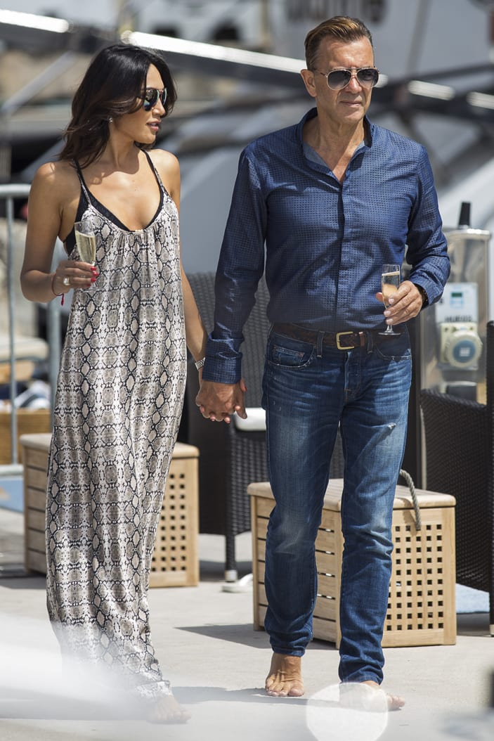 Duncan Bannatyne and Nigora Whitehorn seen on their yacht in Monte Carlo, Monaco during 2016 Grand Prix Practice sessions.