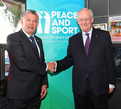 Joël Bouzou with Minister of State Michel Roger