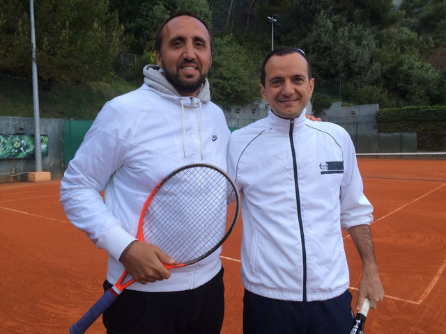 Coach Diego Nargiso, of the International Tennis Academy, with Giuseppe Ambrosio, President Monaco Single and Multi-Family Office International Association