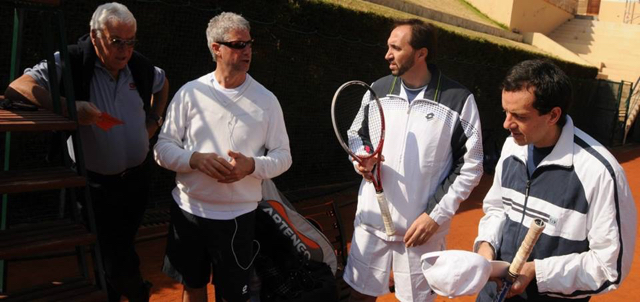 "Giuseppe Ambrosio, right, at MCCC central court with tennis icon Nicola ""Nicky"" Pietrangeli"