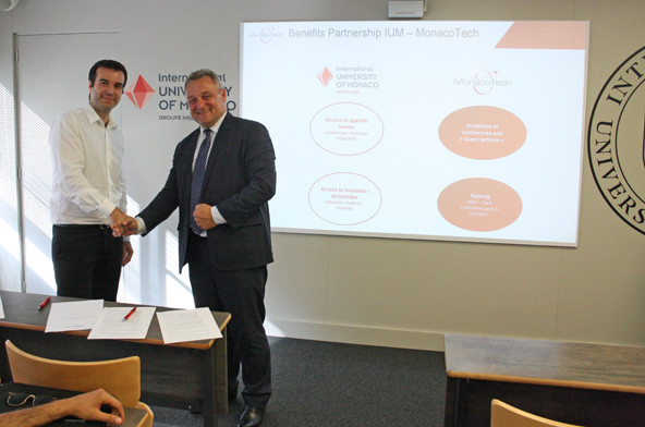 Fabrice Marquet, Director of MonacoTech, with Jean-Philippe Muller, IUM's General Director
