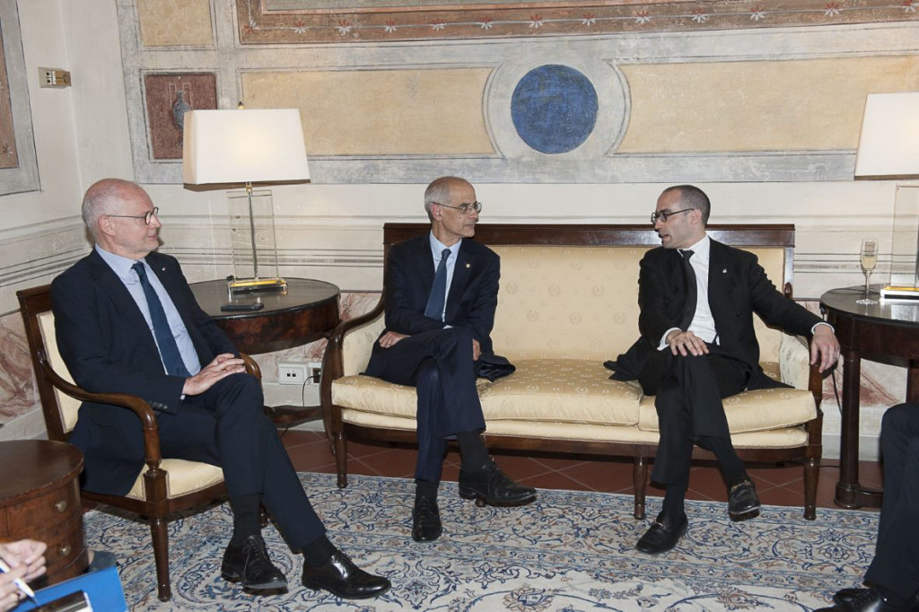 L-R: Serge Telle, Minister of State, Antoni Martí Petit, Head of Government of the Principality of Andorra and Nicola Renzi, Minister of Foreign Affairs, Political Affairs and Justice of the Republic of San Marino © MW
