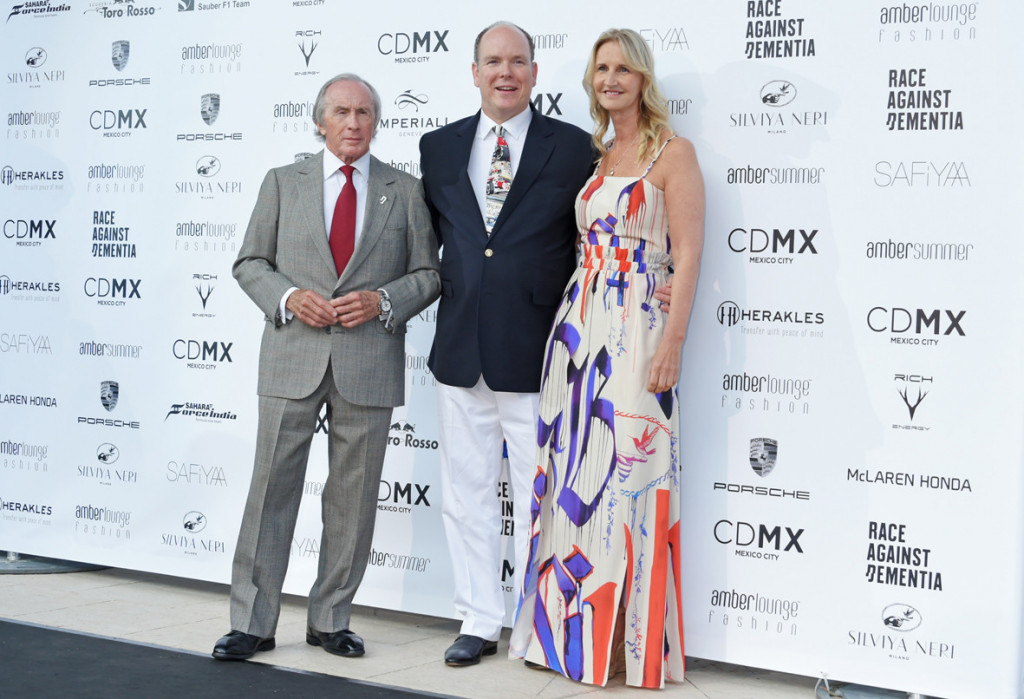 Sir Jackie Stewart, Prince Albert and Sonia Irvine at Amber Lounge Fashion Monaco 2017. Photo: Dave Benett