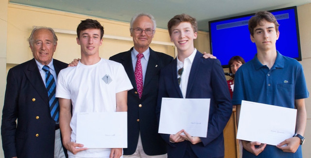 Winners of the Leonardo Da Vinci Essay Competition are awarded their certificates and cheques by Prince Alvaro de Orleans-Borbon‎, who set the challenge. The winners are: Andrea Bernardi, Robert Nylund and Elodie Webb (not present)