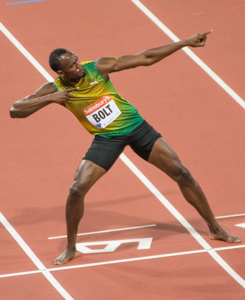 Usain Bolt celebrating at the 2013 London Anniversary Games.Photo: J. Brichto