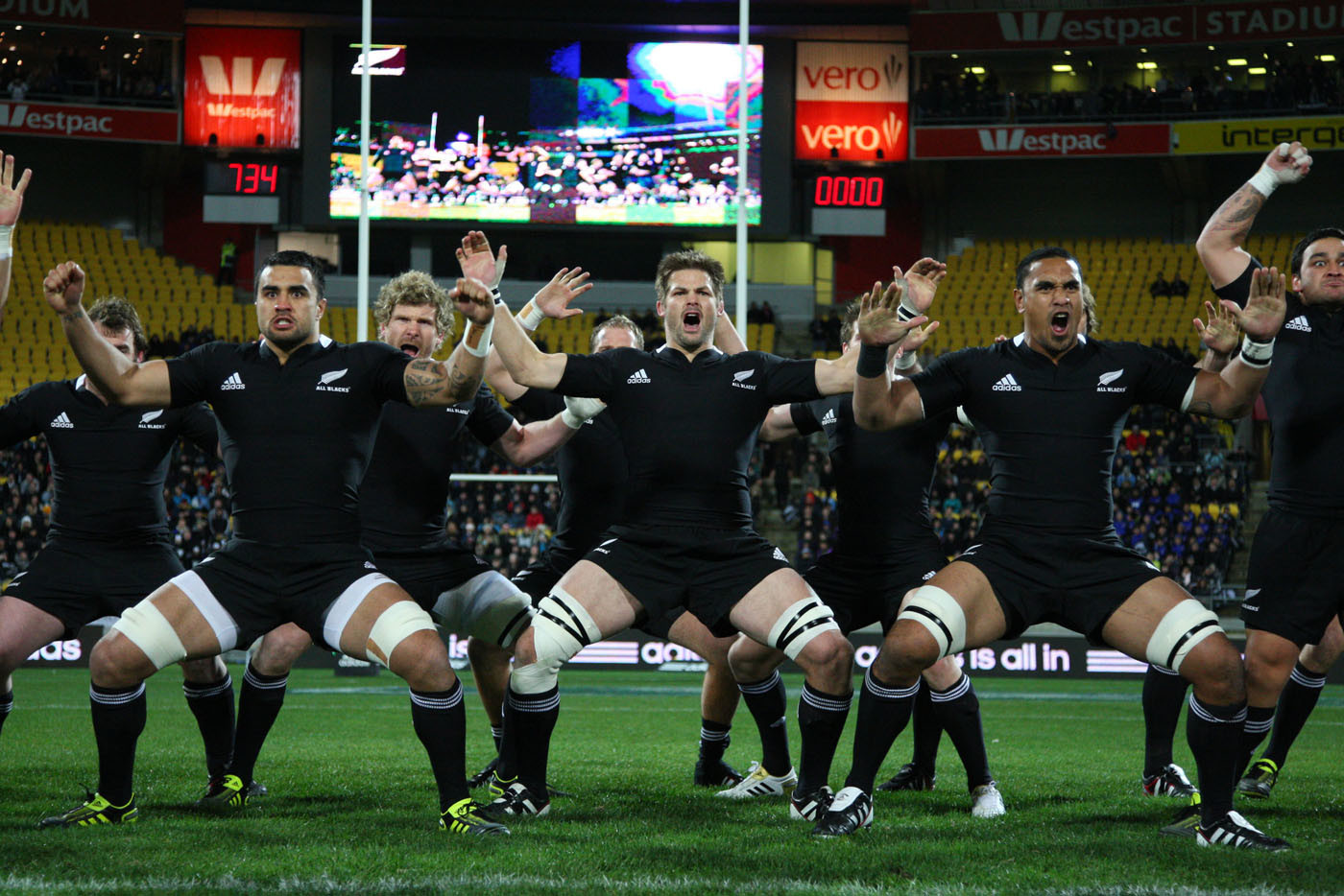 The All Blacks perform the haka in the new jersey before the All Black v South Africa test match at Westpac Stadium, Wellington, NZ. 30 July 201. Photo: Jo Caird/RugbyImages