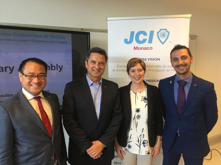 Junior Chamber International VP Kevin Hin, JCI Senate Monaco President Pierre Brière, JCI World President Dawn Hetzel, and Olivier Mura, President JCEM.