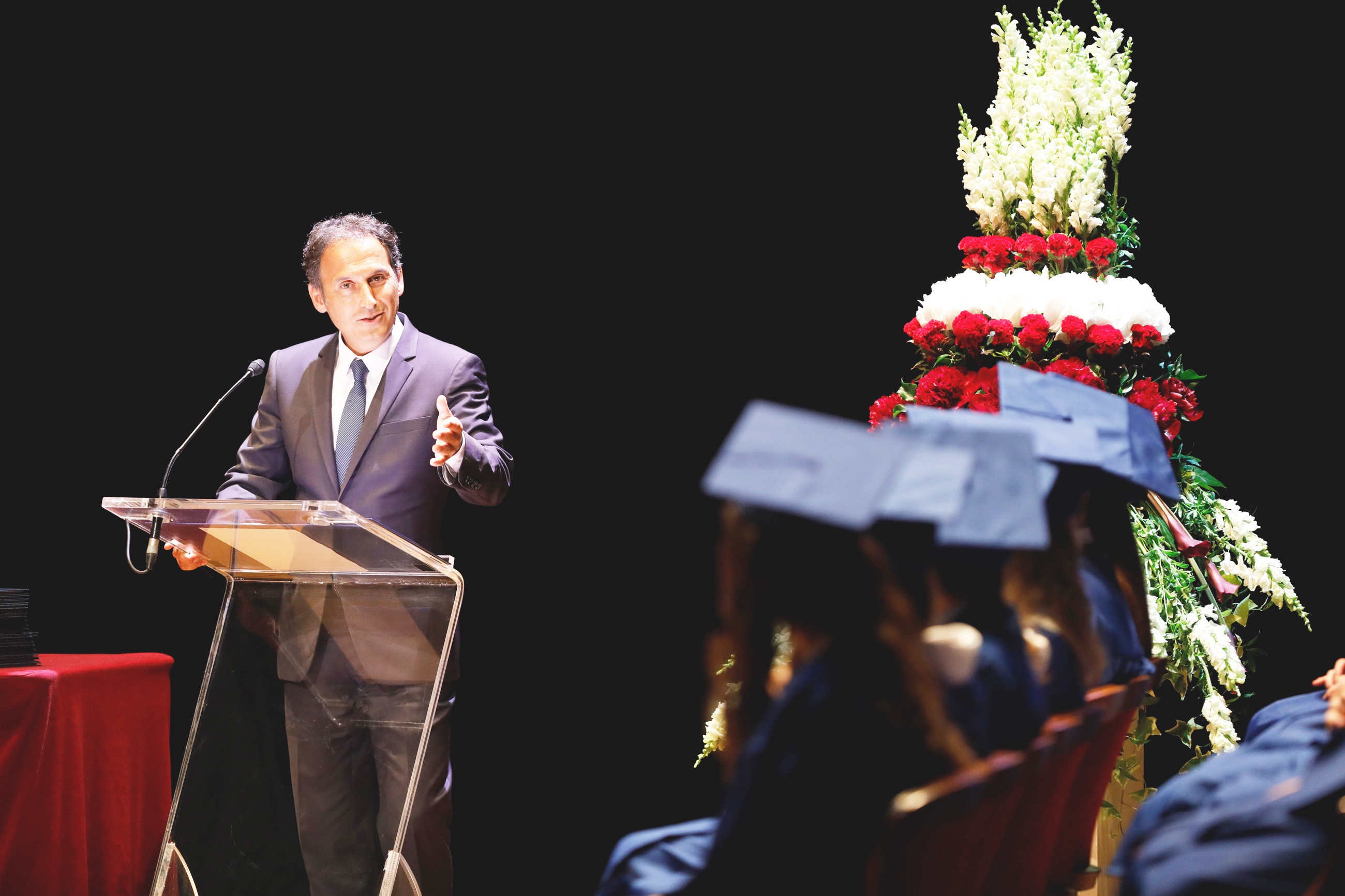 International School of Monaco Director Francis Gianni addresses the Class of 2017. Photo: ISM