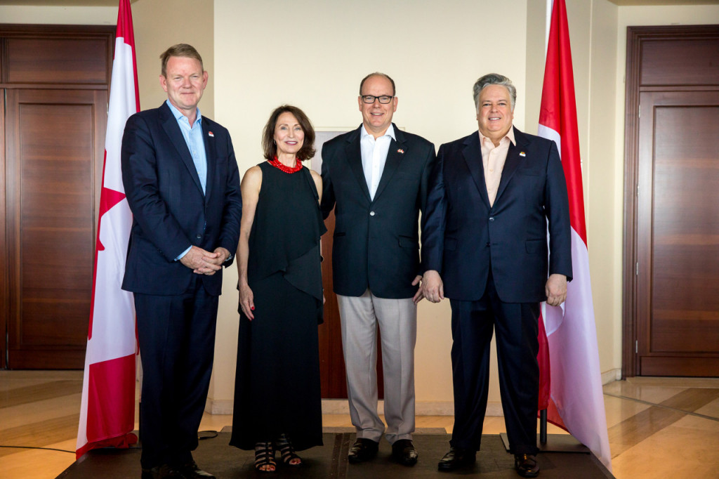 Graeme Clark, Minister Plenipotentiary of the Embassy of Canada in Paris, Canadian Club of Monaco President France Rioux, Prince Albert and Marc Devito, Honorary Consul of Canada in Monaco