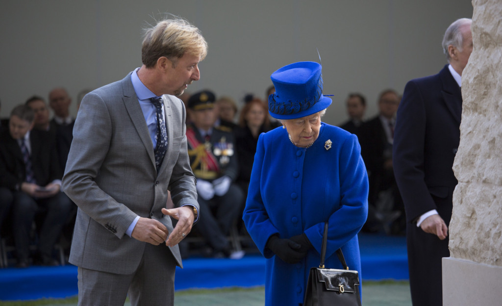 Paul Day with HRH Queen Elizabeth for the unveiling of the Iraq Afghanistan Memorial in March 2017. Photo: MOD