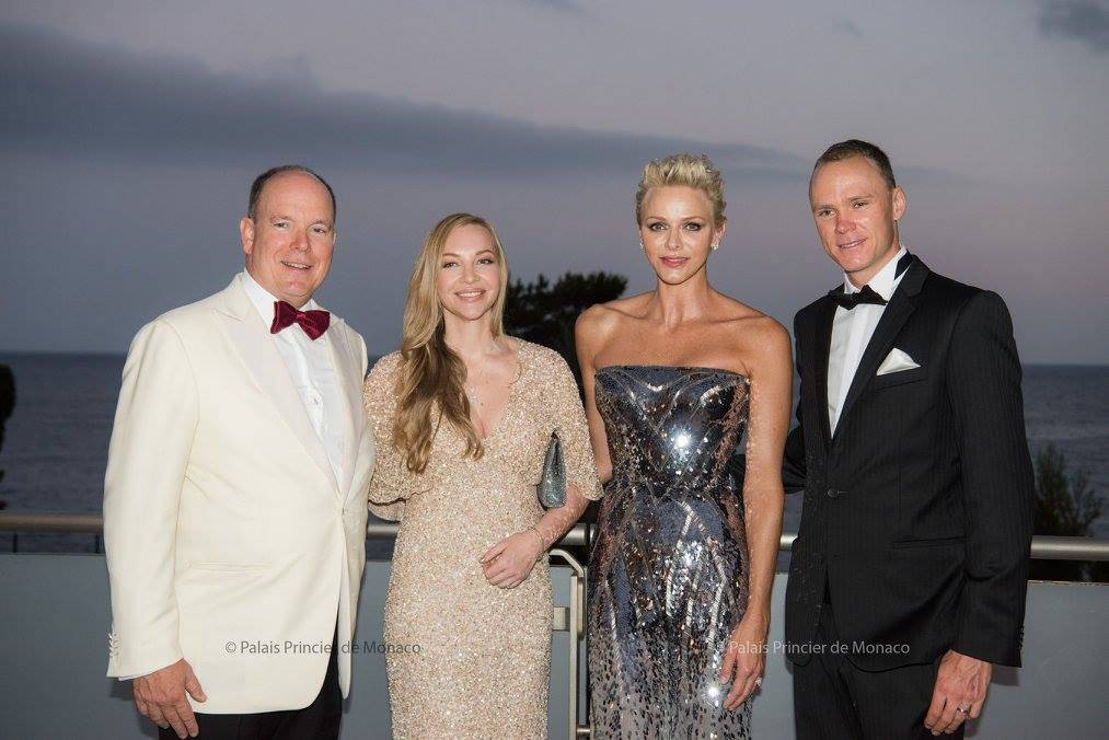 Prince Albert and Princess Charlene with Chris Froome and his wife, Michelle Cound