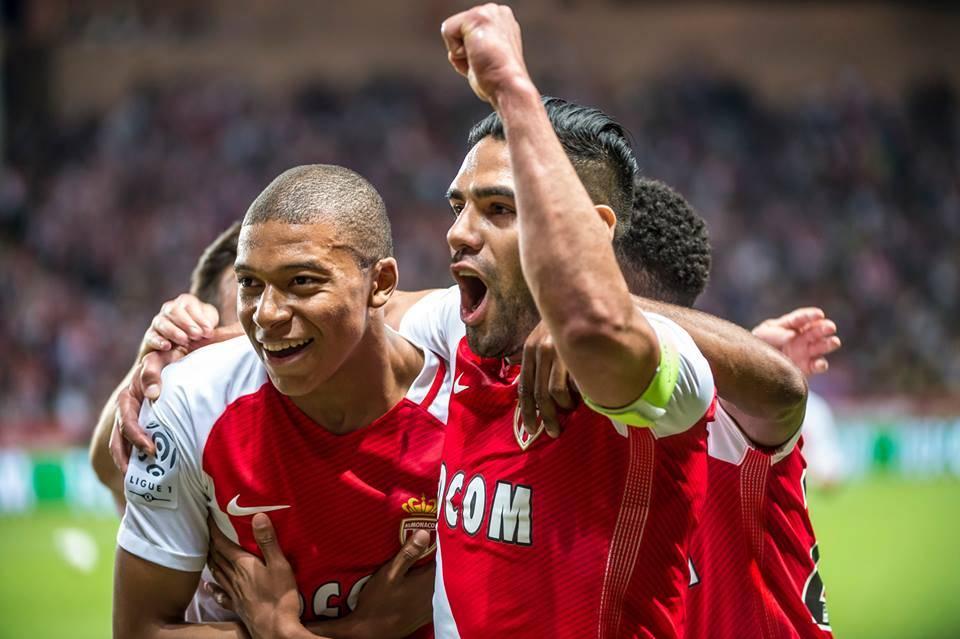 Mpabbe with Falcao. Photo: Facebook AS Monaco