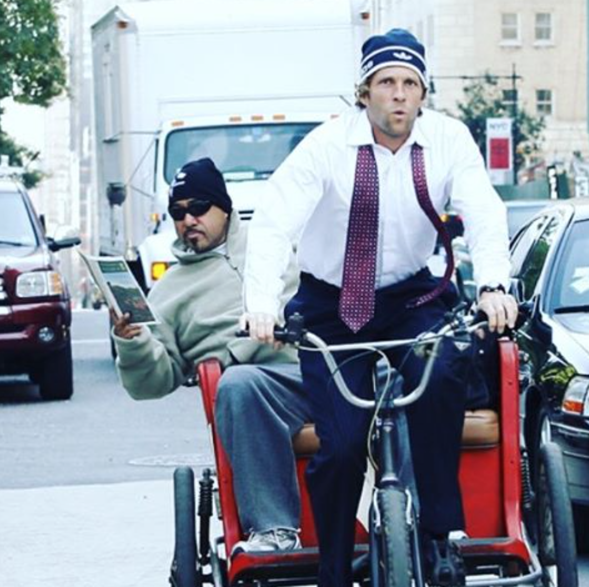 "Jesse Itzler: ""We're ALL busy, so get it in when you can. I hired a rickshaw guy to pick me up at my office every night... Then told him to sit in the back while I peddled 8 miles home!"" Photo: Facebook Jesse Itzler"