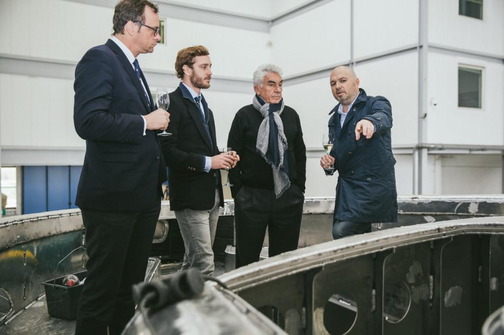Pierre Casiraghi, Vice-President of the Yacht Club de Monaco, with Bernard d'Alessandri, YCM Secretary General, at Dynamiq's Viareggio shipyard