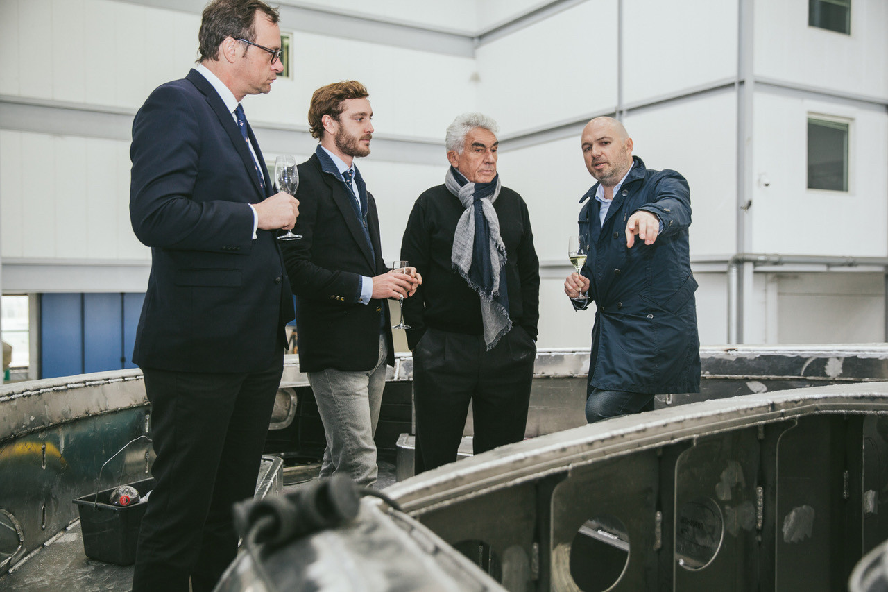 Pierre Casiraghi, Vice-President of the Yacht Club de Monaco, with Bernard d'Alessandri, YCM Secretary General, at Dynamiq's Viareggio shipyard