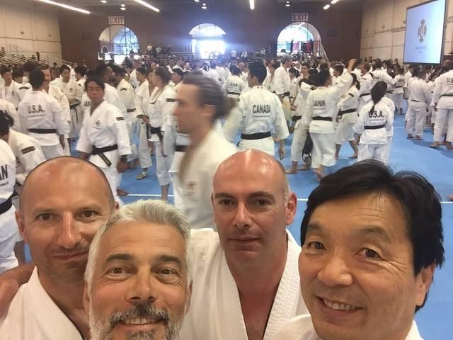 Monaco Team at the Shorinji Kempo World Taikai in San Mateo. Thierry-Corinne Patucca, Stéphane Gastaldy, Jerome Giusti and Muraki Junichi. Photo: Facebook Stéphane Gastaldy
