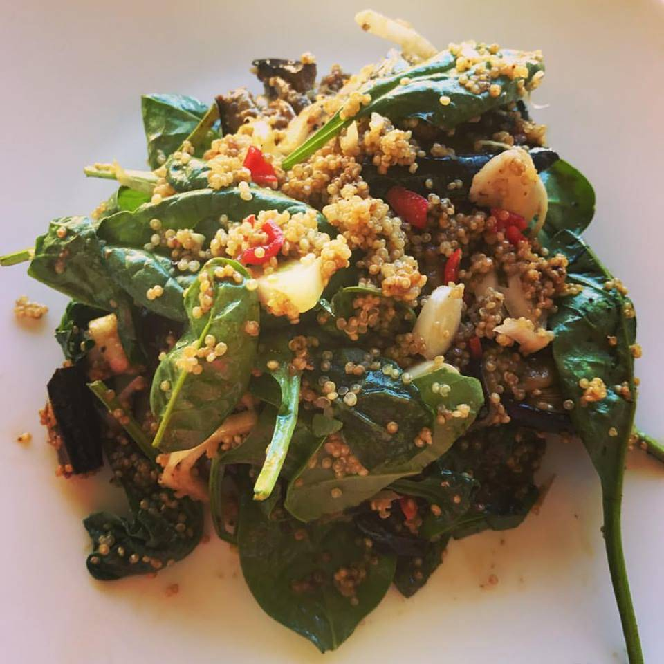 Detox lunch grilled aubergine miso salad with quinoa